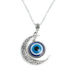 Amulett Böser Blick mit Mond Silber