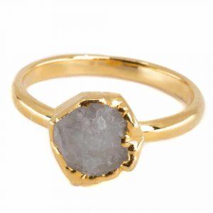 Geburtsstein Ring Mondstein roh Juni - 925 Silber