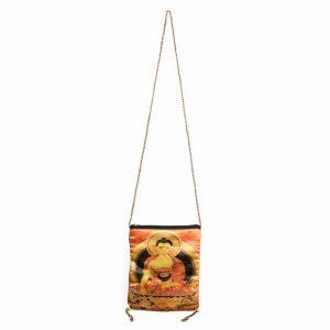 Tasche Baumwolle mit Buddha und Reissverschluss (21 x 17 cm)