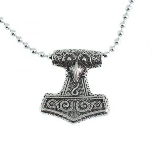 Wikinger-Anhänger Thors Hammer mit Krähe