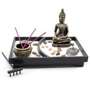 Mini Zen Garten Japanisch mit Buddha (12,5cm)