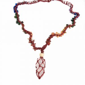 Roher Edelstein-Anhänger Rosenquarz mit Chakra-Halskette