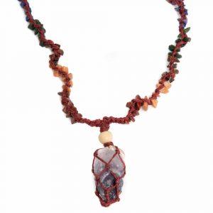 Roher Edelstein-Anhänger Amethyst mit Chakra-Halskette
